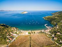 Aerial  view of Keri city in  Zante zakynthos island, in Greec Royalty Free Stock Image