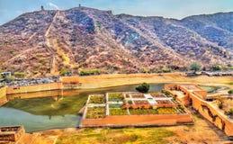 Aerial view of Kesar Kyari or Saffron Garden on Maota Lake. Amer - Jaipur, India