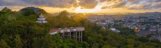 aerial view Khao Rang viewpoint landmark of Phuket city royalty free stock photo