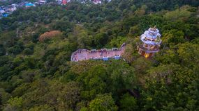 Aerial view at Khao Rang viewpoint tower. Aerial view during sunset at Khao Rang the landmark viewpoint of Phuket place in the central of Phuket town. on Khao Stock Photography
