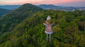 Aerial view at Khao Rang viewpoint tower. Aerial view during sunset at Khao Rang the landmark viewpoint of Phuket place in the central of Phuket town. on Khao Stock Images