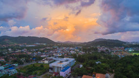 Aerial view Kho Rung the land mark view point of Phuket place in the middle of Phuket town Royalty Free Stock Images