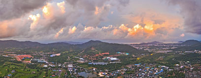 Aerial view Kho Rung the land mark view point of Phuket place in the middle of Phuket town Stock Photo