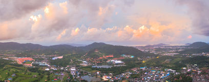Aerial view Kho Rung the land mark view point of Phuket place in the middle of Phuket town Stock Photography