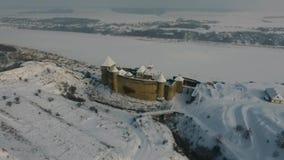 Aerial view of Khotyn castle, western Ukraine, Europe in winter landscape. stock footage