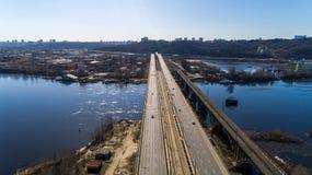 Aerial view of the Kiev city, Ukraine. Dnieper river with bridges. Darnitskiy bridge royalty free stock photo