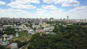 Aerial view of Kiev-Pechersk Lavra Ukrainian Orthodox Monastery stock footage