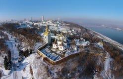 Aerial view of Kiev-Pechersk Lavra. Winter aerial view of Kiev-Pechersk Lavra Royalty Free Stock Photo
