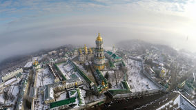Aerial view Kiev-Pechersk Lavra in winter. Fog Royalty Free Stock Images