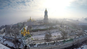 Aerial view Kiev-Pechersk Lavra in winter Royalty Free Stock Image