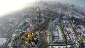 Aerial view Kiev-Pechersk Lavra in winter Stock Photography