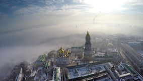 Aerial view Kiev-Pechersk Lavra in winter Royalty Free Stock Photo