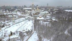 Aerial view Kiev-Pechersk Lavra in winter, Kiev , Ukraine. Royalty Free Stock Photo
