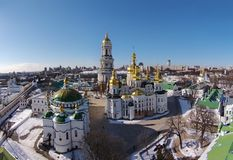 Aerial view of Kiev-Pechersk Lavra at winter Royalty Free Stock Photography