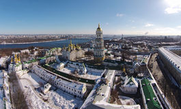 Aerial view of Kiev-Pechersk Lavra at winter Stock Photo