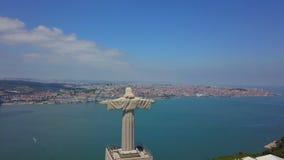 Aerial view of Cristo Rei statue in Almada,Lisbon.Portugal stock footage