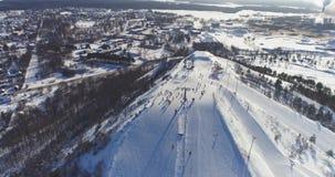 Aerial View Of Kiviõli Ski Resort In Estonia. Amazing winter landscape. stock video footage