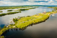 Aerial view of Kizhi island with old russian wooden architecture in Karelia, Russia. Stock Photo