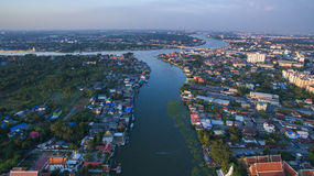 Aerial view of klong lad kred important landmark of chaopraya ri Stock Images
