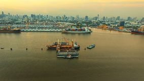 Aerial view of klong tuey port and container ship loading rice p stock image