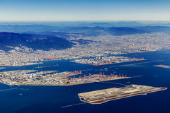 Aerial view of Kobe Airport in Kobe Royalty Free Stock Photos