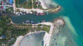 Aerial view of Koh Phangan fisherman marina. Clear blue sea from aerial view of Koh Phangan pier Stock Image