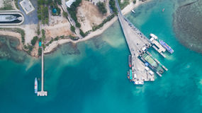 Aerial view of Koh Phangan international port. Clear blue sea from aerial view of Koh Phangan pier Stock Photos