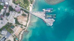 Aerial view of Koh Phangan international port. Clear blue sea from aerial view of Koh Phangan pier Stock Images