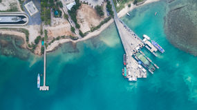 Aerial view of Koh Phangan international port. Clear blue sea from aerial view of Koh Phangan pier Royalty Free Stock Image