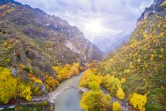 Aerial view of Konitsa bridge and Aoos River an autumn day, Gree Stock Photo