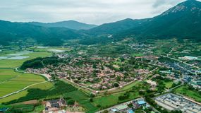 Aerial view of korean traditional folk village in Suncheon city stock image