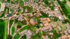 Aerial view of korean traditional folk village in Suncheon city stock photo