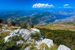 Aerial view of Kotor, Boka Kotorska Bay, Montenegro royalty free stock photo