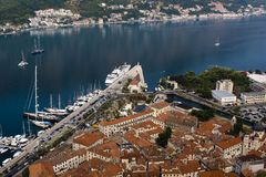 Aerial view of Kotor old town and harbor from Lovcen mountain, Kotor, Montenegro Stock Photo