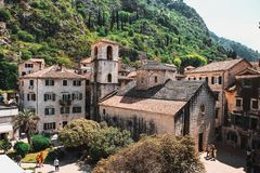 Aerial view of Kotor stock photo