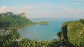 Aerial view Of Krabi Province. Top view of popular limestone mountains of Krabi Province, Thailand, Andaman sea.Stunning aerial landscape with karst formations stock video footage