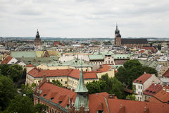 Aerial view Krakow Poland - Church St. Mary and roof of city stock photo