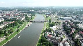 Aerial view of Krakow river stock footage