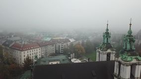 Krakow, veil of mist covered the town. Aerial View of Krakow, Wawel, Royal Castle, veil of mist covered the town stock footage