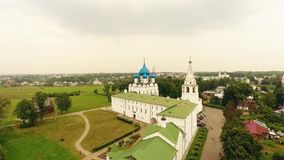 Aerial view on kremlin in the ancient town Suzdal, Golden ring, Russia stock video