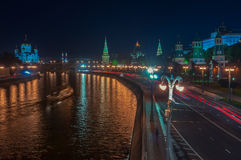 Aerial view of Kremlin at night in Moscow Stock Photo