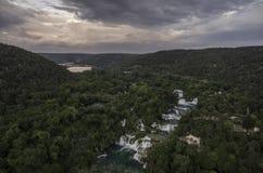Aerial view on KRKA National Park waterfalls Royalty Free Stock Photos