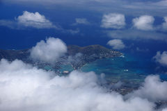 Aerial view of Kuapa Pond, Hawaii Kai Town, Portlock, clouds and Stock Image