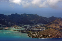 Aerial view of Kuapa Pond, Hawaii Kai Town, Portlock, clouds and Royalty Free Stock Photos