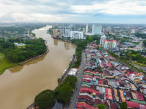 Aerial view of Kuching, the capital city of  Sarawak, Malaysia Royalty Free Stock Photos