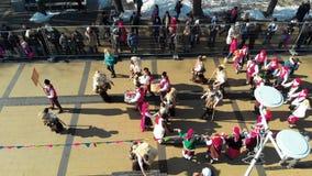Aerial view of Kukeri masquerade festival in Pernik stock video