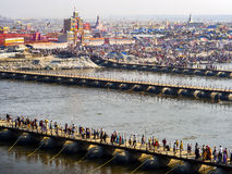 Aerial View of Kumbh Mela Festival in Allahabad, India Royalty Free Stock Photos