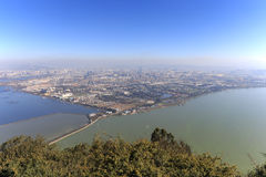 Aerial view of Kunming, the capital of Yunnan province in Southern China, from XiShan Western Hill Royalty Free Stock Photo