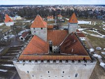 Aerial view at Kuressaare Castle roofs and towers. Medieval fortification in the Saaremaa island, Estonia, Europe Royalty Free Stock Photography