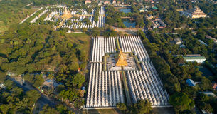 Aerial view of Kuthodaw Pagoda in Myanmar Royalty Free Stock Images